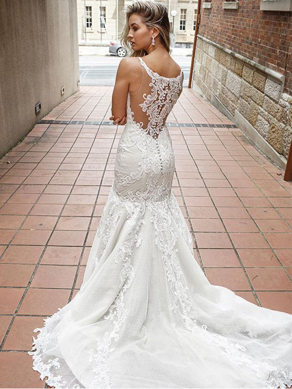 DALE 1 detailed illusion back wedding dress Luv Bridal Sydney Australia