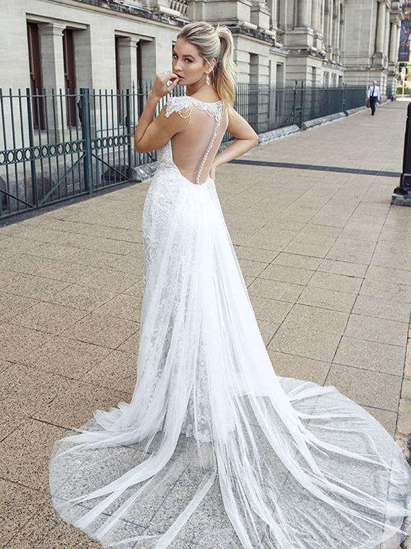 DANIELA 2 button back wedding gown with train Luv Bridal Sydney Australia