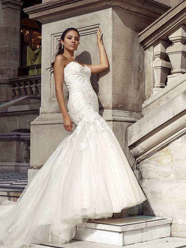 DANNI 0 strapless art deco lace mermaid wedding dress Luv Bridal Brisbane Australia