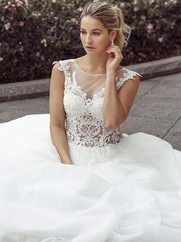 DAWN 1 sheer bodice ballgown with lace detail Luv Bridal Brisbane Australia