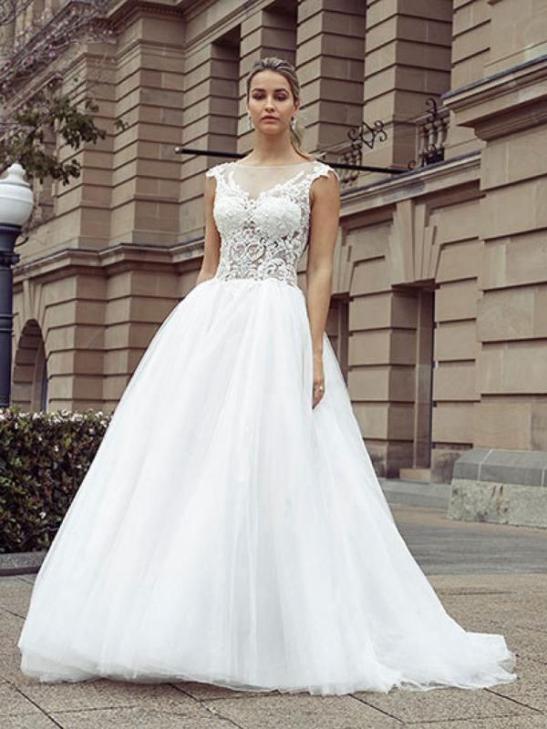 DAWN 2 sheer lace bodice tulle skirt ballgown wedding dress Luv Bridal Melbourne Australia