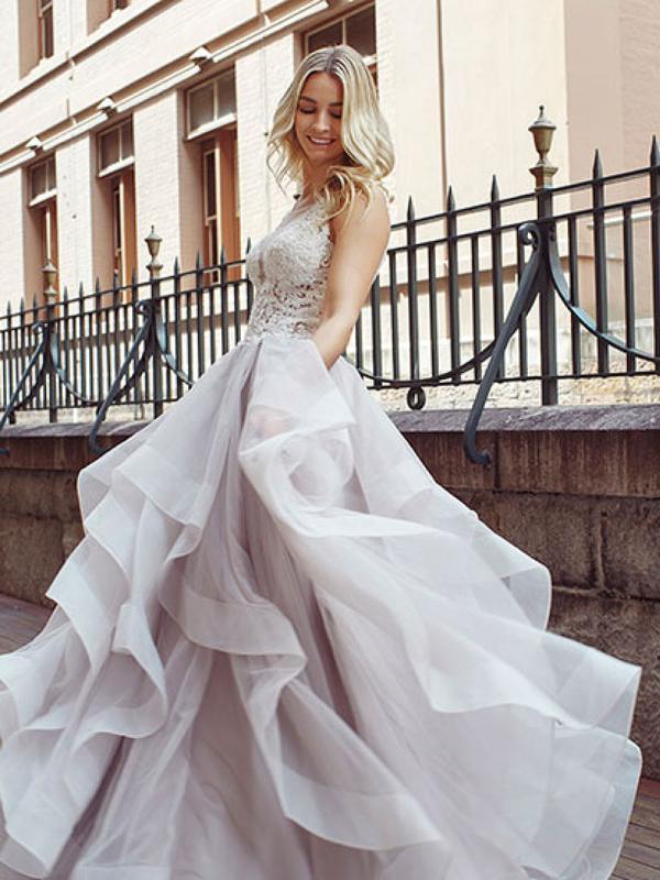 DIOR 1 ruffle skirt sheer bodice ballgown wedding dress Luv Bridal Melbourne Australia