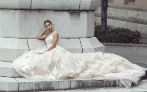 Delainie Mia Solano Luv Bridal Melbourne Australia illusion neckline long train ivory nude lade wedding dress