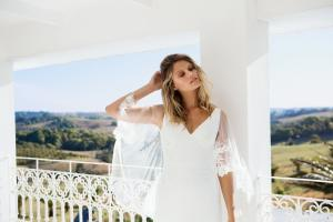 ELYSE Madi Lane Simple elegant sheer lace cape jersey wedding dress Luv Bridal Byron Bay Gold Coast Australia B