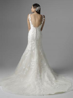 1601BACK CATALINA MIA SOLANO LUV BRIDAL LOW BACK LACE WEDDING DRESS SPAGHETTI STRAPS 3D FLOWERS MERMAID FITTED WEDDING DRESS
