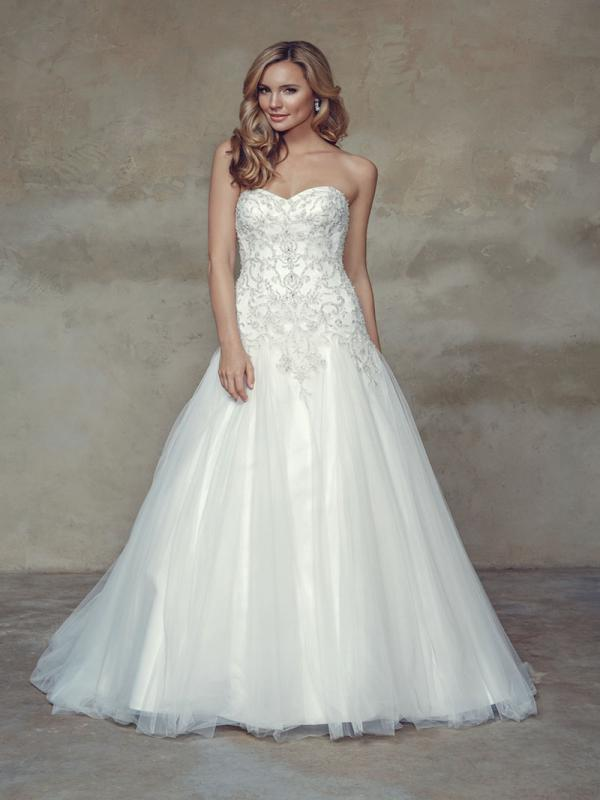 BAYLIN M1526L beaded strapless sweetheart long bodice a line wedding dress Mia Solano Luv Bridal Brisbane Australia