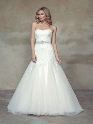 BELINDA M1524L long bodice a line fit and flare lace and tulle wedding dress Mia Solano Luv Bridal Adelaide Australia