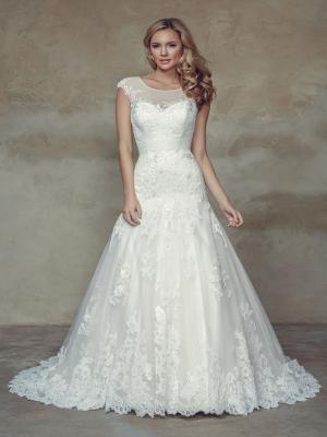 BRAYLEE M1529Z sheer illusion high neck fitted lace mermaid wedding dress Mia Solano Luv Bridal Melbourne Australia