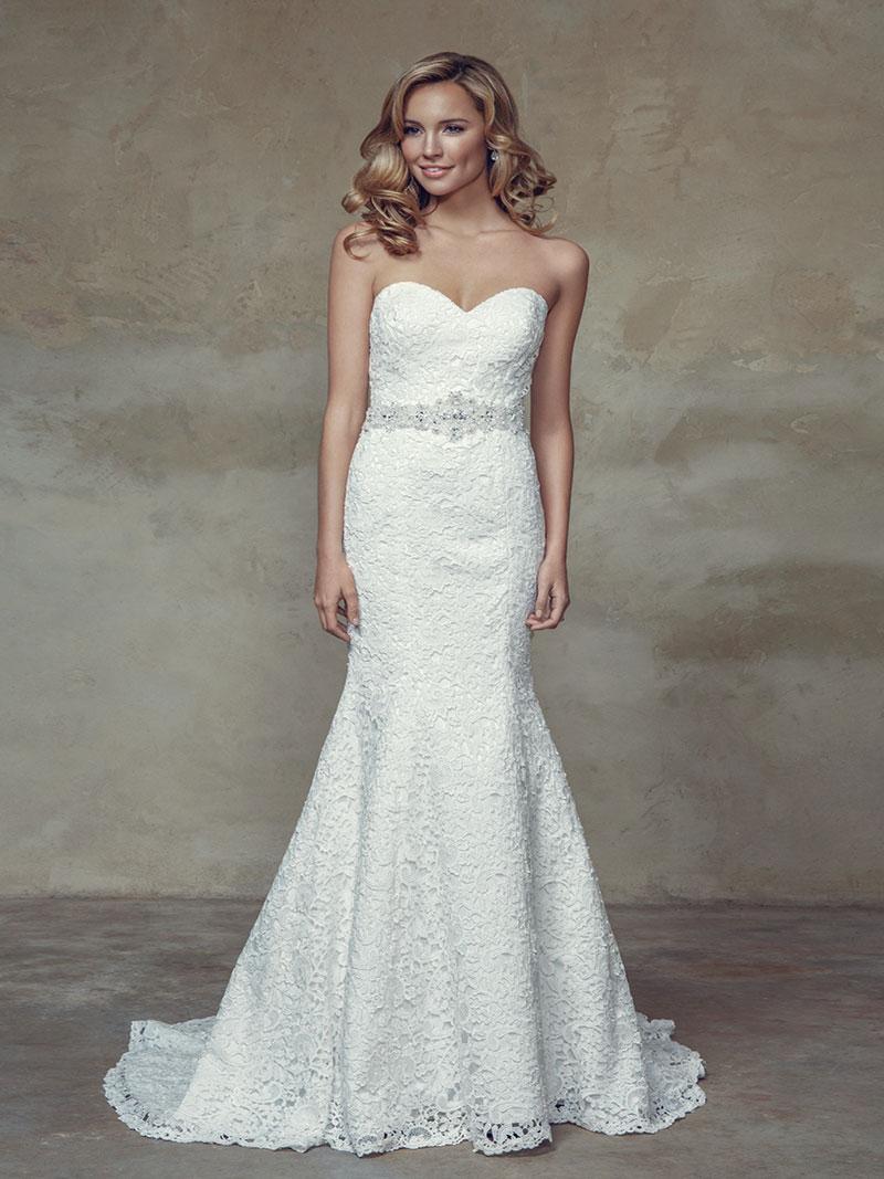 BRIGHTON M1522L full lace strapless sweetheart fitted wedding dress Mia Solano Luv Bridal Brisbane Australia