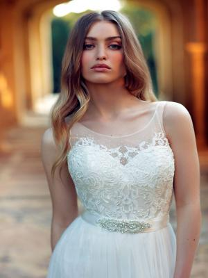 CAMBRIA M1624Z beaded lace sheer illusion bodice with tulle skirt wedding dress Mia Solano Luv Bridal Brisbane Australia