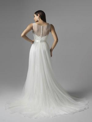 CAMBRIA M1624Z simple illusion button back sheer tulle and lace wedding dress Mia Solano Luv Bridal Adelaide
