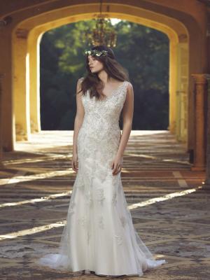 CAMEO M1678Z embellished slip beaded lace overlay satin wedding dress Mia Solano Luv Bridal Brisbane