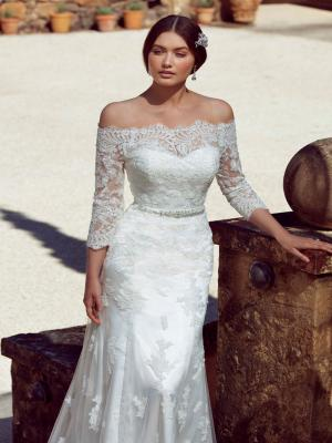 CAPRIE M1605Z off the shoulder fitted lace wedding dress Mia Solano Luv Bridal Melbourne Australia