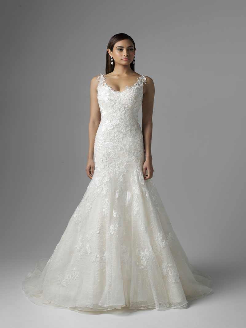 161ca5c1d44 CATALINA M1601Z lace motif and tulle fit and flare wedding dress Mia Solano  Luv Bridal Gold