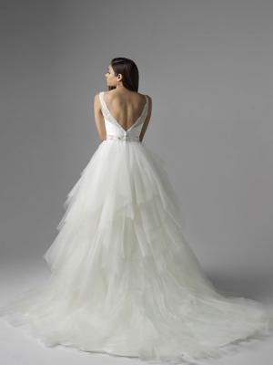 CHANNING M1609Z v neck lace and uneven tulle princess ballgown wedding dress Mia Solano Luv Bridal Gold Coast Australia