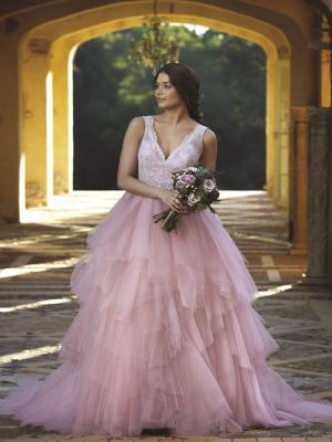 CHANNING M1609Z pink lace tulle princess ballgown wedding dress Mia Solano Luv Bridal Gold Coast Australia