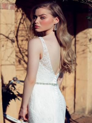 CHLOE M1660Z low open back wedding dress full lace belt Mia Solano Luv Bridal Perth Australia