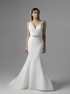 CHLOE M1660Z plunge v neck full lace fit and flare wedding dress Mia Solano Luv Bridal Brisbane Australia
