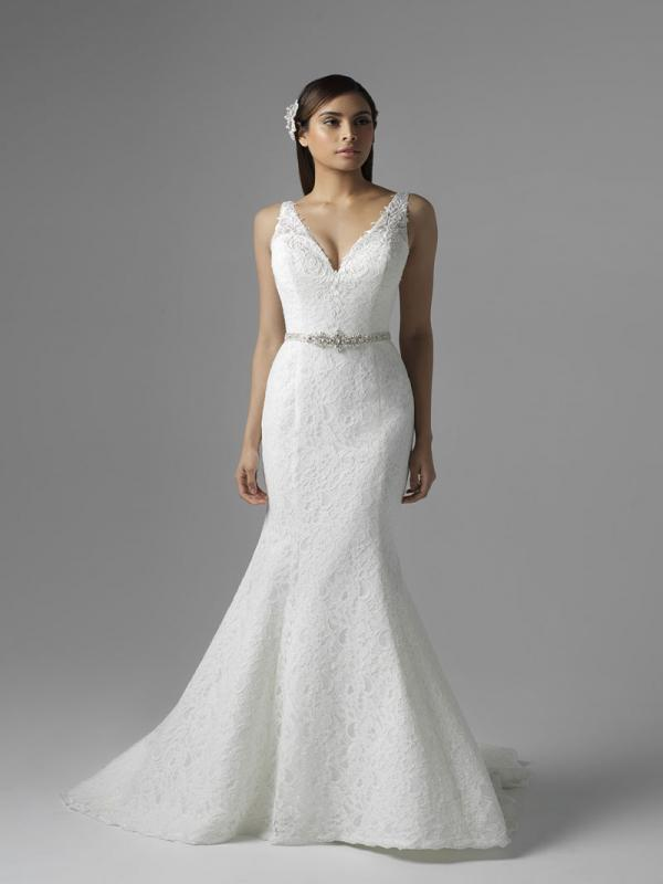 CHLOE M1660Z plunge v neck full lace fit and flare wedding dress Mia Solano Luv Bridal Brisbane Australia