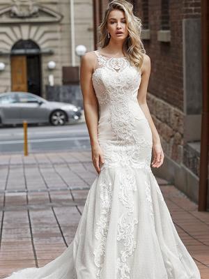 DALE 2 high neck illusion lace mermaid gown Luv Bridal Melbourne Australia