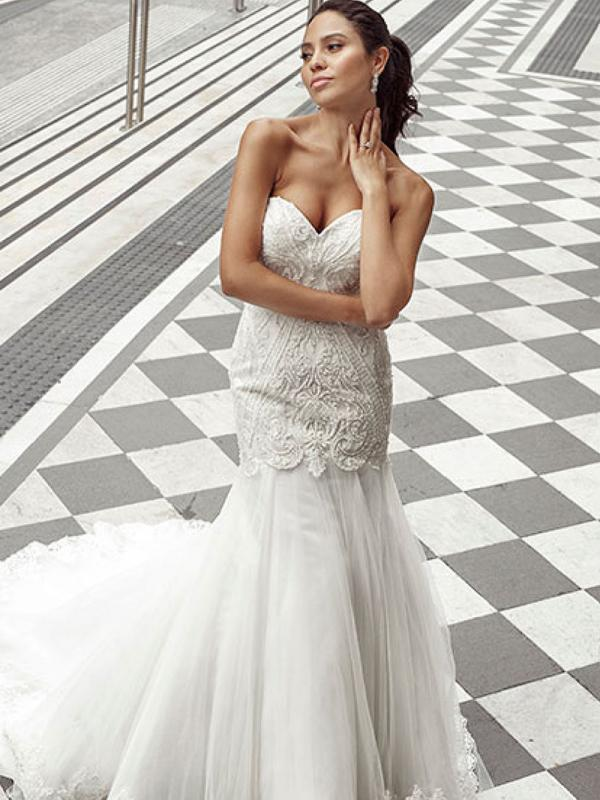 DANA 1 strapless mermaid wedding dress with tulle skirt Luv Bridal Gold Coast Australia
