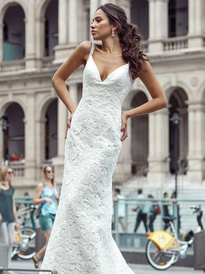 DANTE 1 full lace v-neck wedding gown Luv Bridal Brisbane Australia