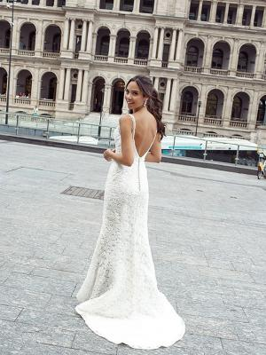 DANTE 2 low back straight lace wedding dress Luv Bridal Sydney Australia