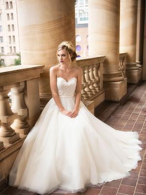 DAVINA 2 strapless lace and tulle ballgown full skirt Luv Bridal Brisbane Australia