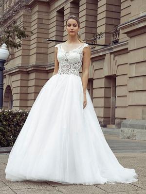 DAWN 2 sheer lace bodice tulle skirt ballgown wedding dress Luv Bridal Melbourne Australia