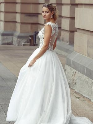 DAWN 3 sheer button back with lace border ballgown Luv Bridal Adelaide Australia