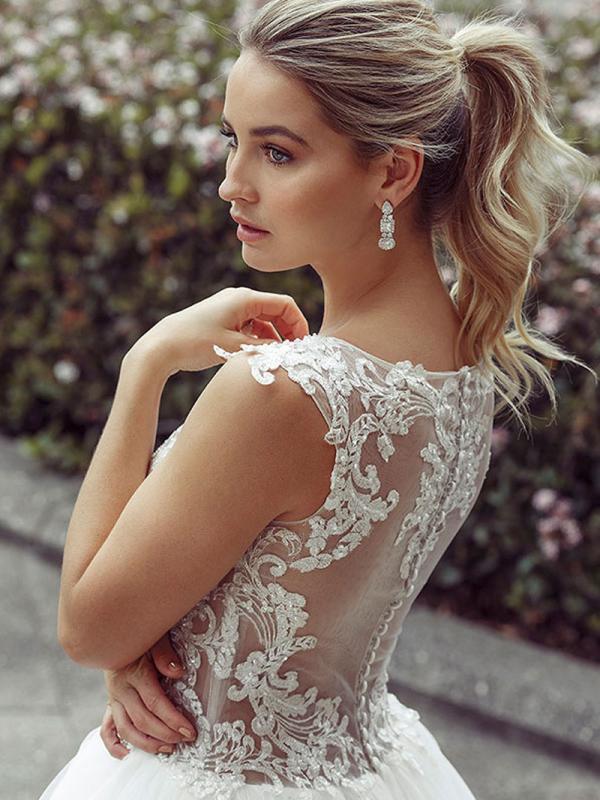 DAWN 4 sheer button back ballgown wedding dress Luv Bridal Sydney Australia