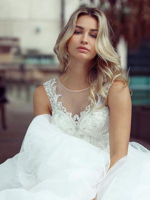 DECLA 1 bling princess ballgown with illusion neckline Luv Bridal Brisbane Australia