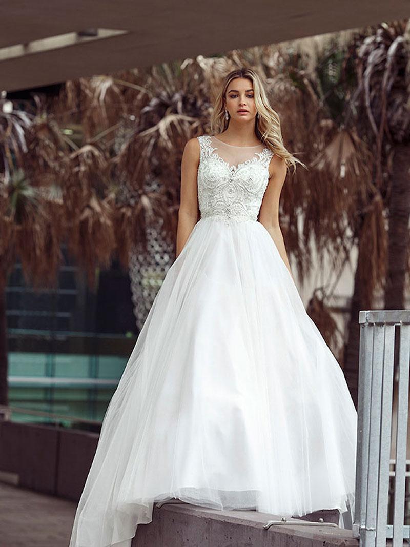 Decla wedding dress luv bridal formal decla 2 ivory illusion beaded neckline ballgown luv bridal perth australia ombrellifo Choice Image