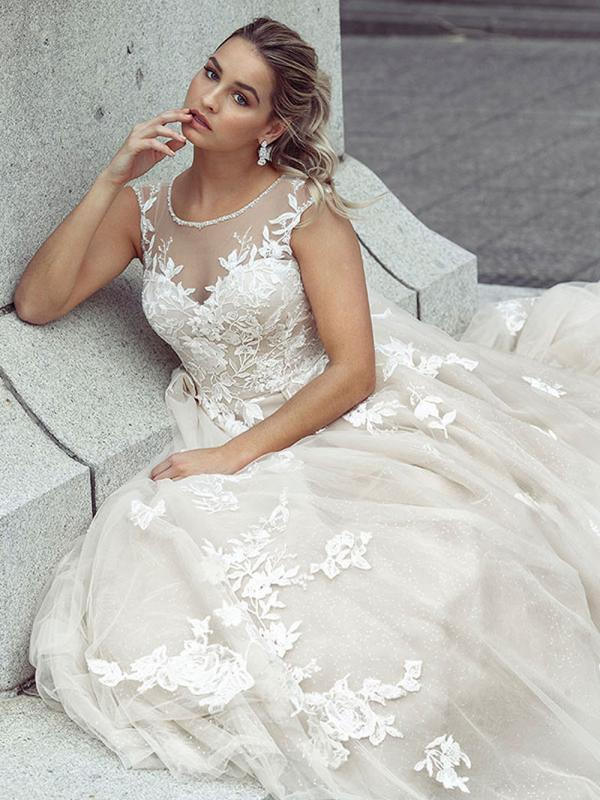 DELAINIE 1 long train illusion neckline wedding gown Luv Bridal Melbourne Australia