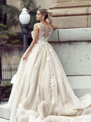 DELAINIE 2 illusion button back royal nude wedding gown Luv Bridal Melbourne Australia