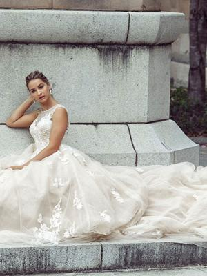 DELAINIE 3 glamorous full skirt wedding gown with train Luv Bridal Melbourne Australia