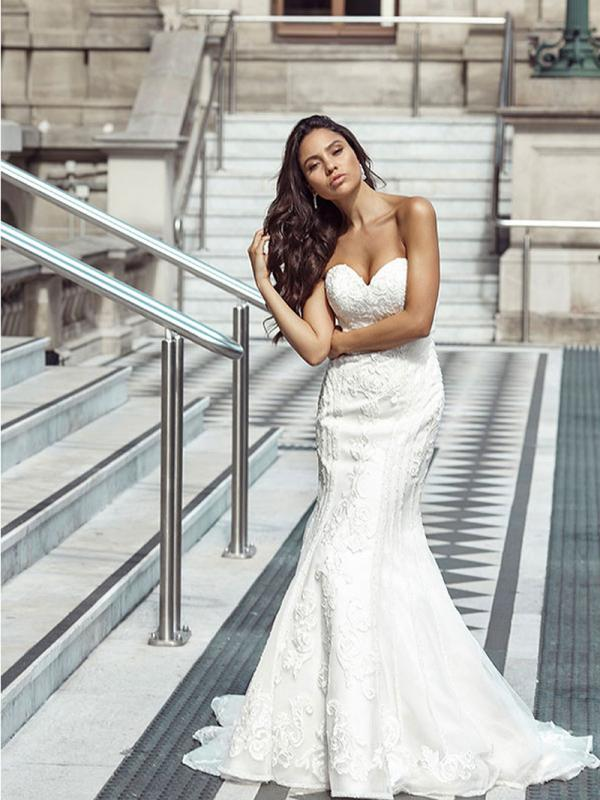 DELTA 1 fit and flare strapless wedding dress Luv Bridal Melbourne Australia
