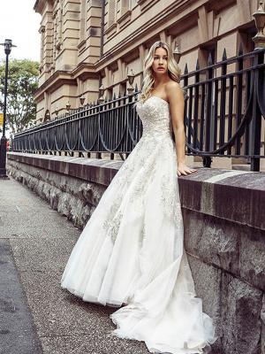 DESI 6 bridal ballgown wedding dress tulle and lace with train Luv Brisbane Australia