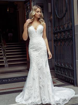 DESTINY 2 plunging fitted low back lace wedding dress Luv Bridal Sunshine Coast Australia