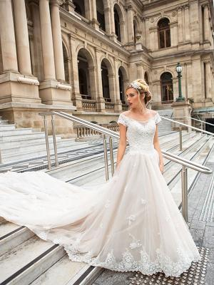 DIANA 1 off the shoulder beaded tulle and lace ballgown wedding dress Sydney Australia