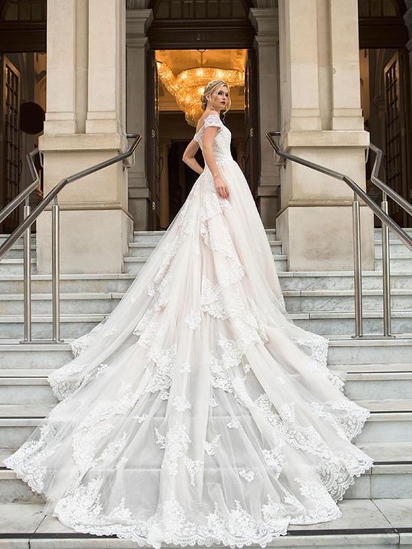 DIANA 2 long train royal ballgown wedding dress Luv Bridal Melbourne Australia