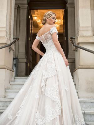 DIANA 3 illusion back off the shoulder lace train ballgown wedding dress Luv Bridal Perth Australia