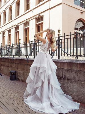 DIOR 3 ruffle waterfall skirt ballgown wedding dress Luv Bridal Melbourne Australia