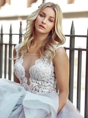 DIOR 5 sheer illusion neckline lace ballgown wedding dress Melbourne Australia
