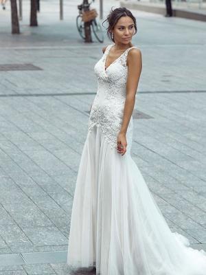 DONNA 1 v neck low back lace mermaid wedding dress Luv Bridal Gold Coast Australia
