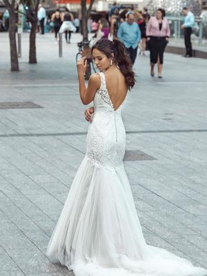 DONNA 4 low button back tulle lace mermaid wedding dress Luv Bridal Melbourne Australia