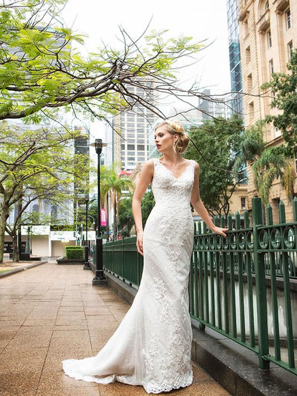DOREEN 1 detailed lace and beaded v neck wedding dress Luv Bridal Brisbane Australia
