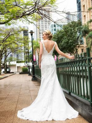DOREEN 2 low v back lace beaded wedding dress Luv Bridal Brisbane Australia