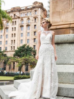 DORI 2 illusion neckline a line wedding dress in lace and tulle Luv Bridal Adelaide Australia