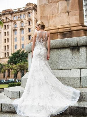 DORI 3 sheer illusion button up back lace wedding dress Luv Bridal Brisbane Australia